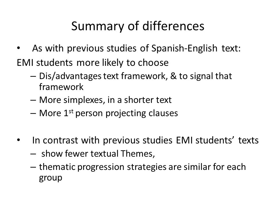 Summary of differences
