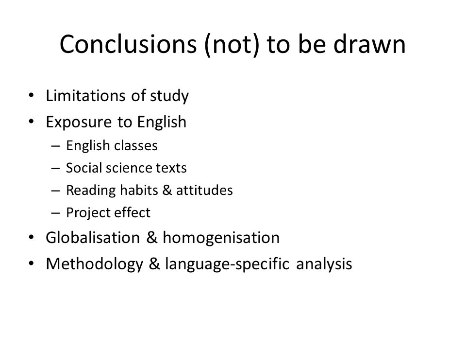 Conclusions (not) to be drawn