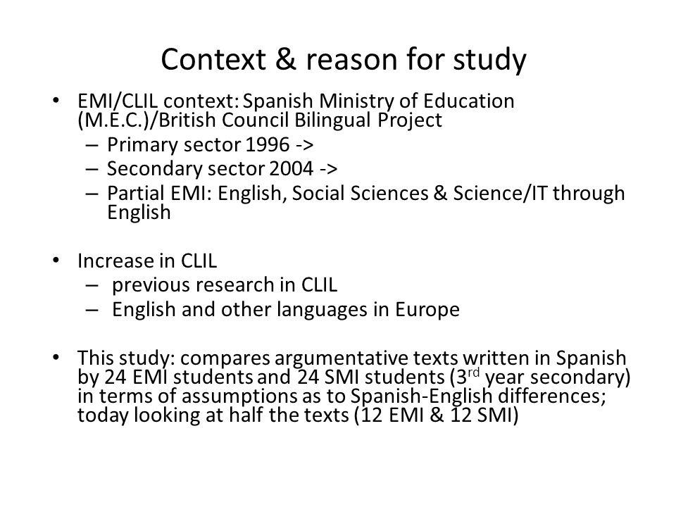 Context & reason for study
