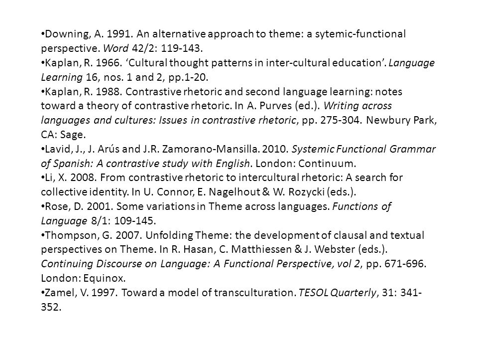 Downing, A. 1991. An alternative approach to theme: a sytemic-functional perspective. Word 42/2: 119-143.