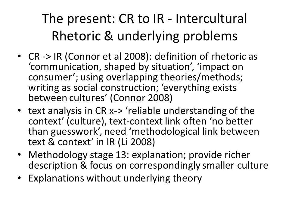 The present: CR to IR - Intercultural Rhetoric & underlying problems