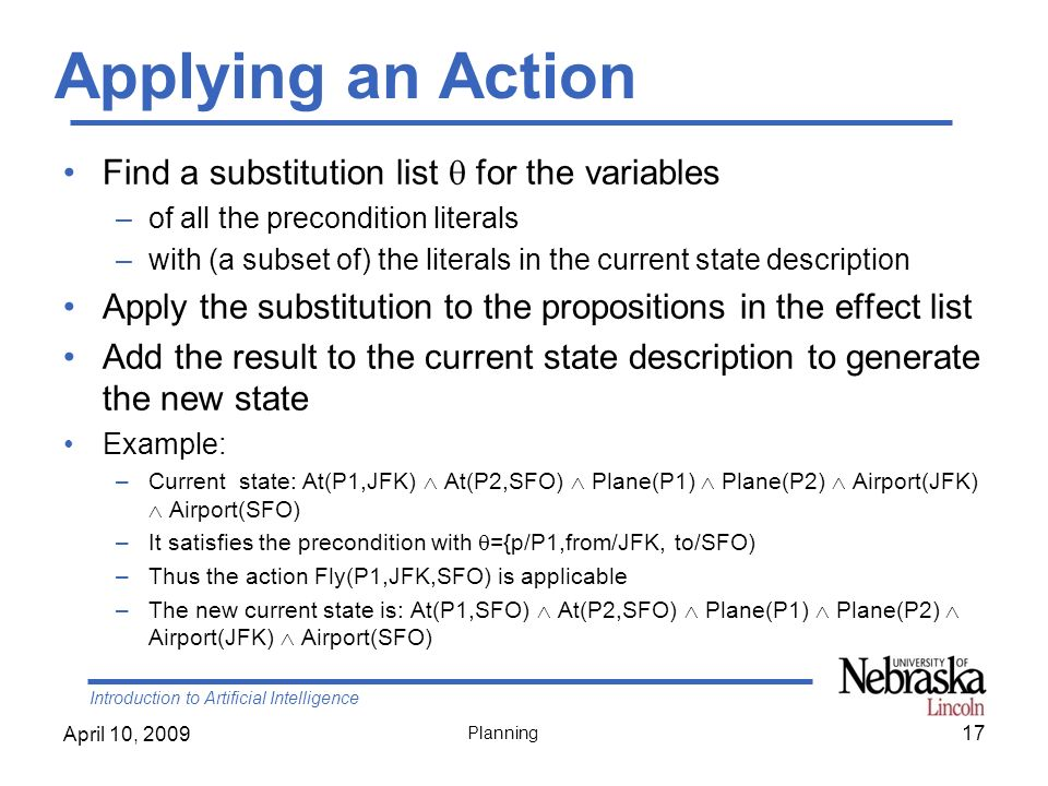 Applying an Action Find a substitution list  for the variables