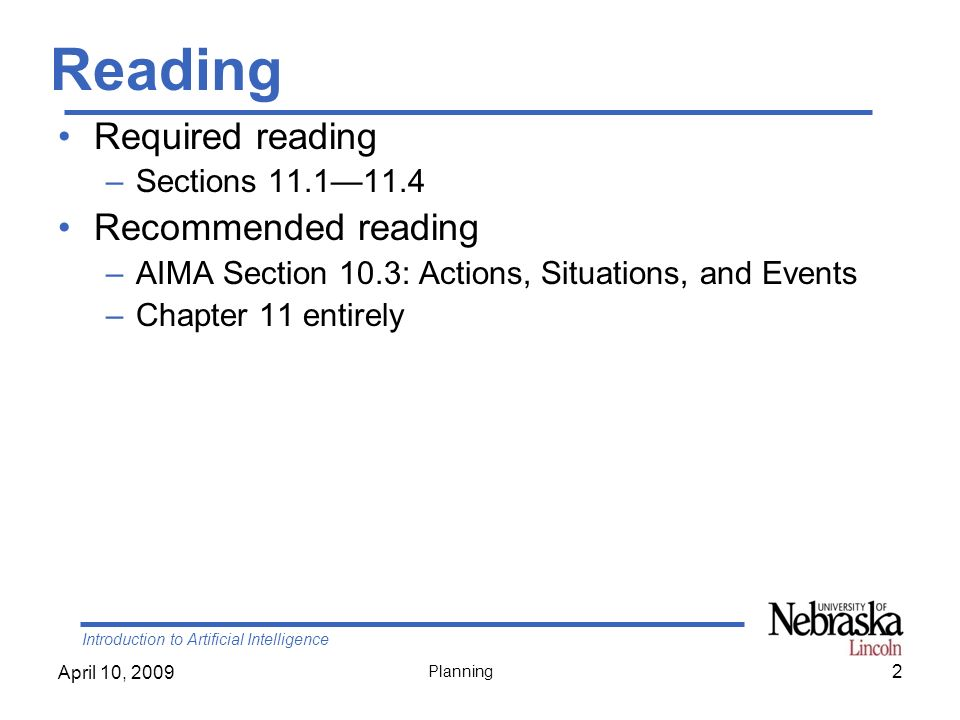 Reading Required reading Recommended reading Sections 11.1—11.4