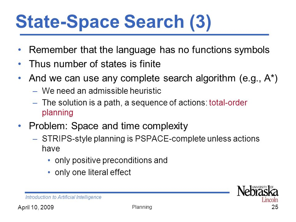 State-Space Search (3) Remember that the language has no functions symbols. Thus number of states is finite.