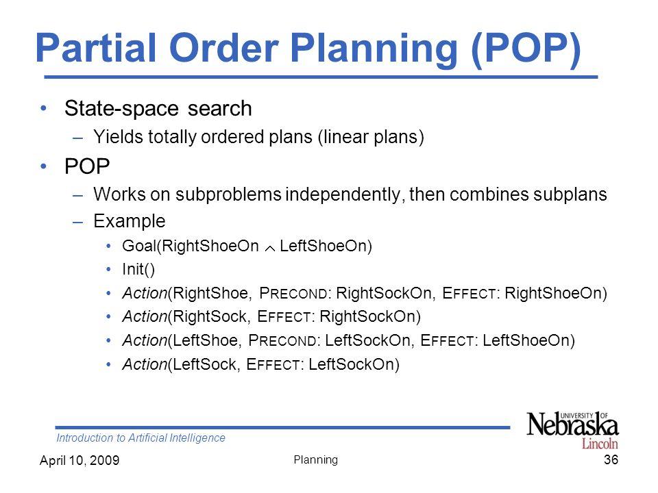 Partial Order Planning (POP)