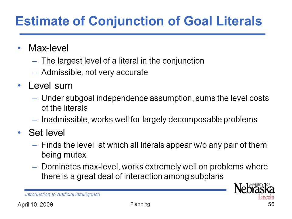 Estimate of Conjunction of Goal Literals