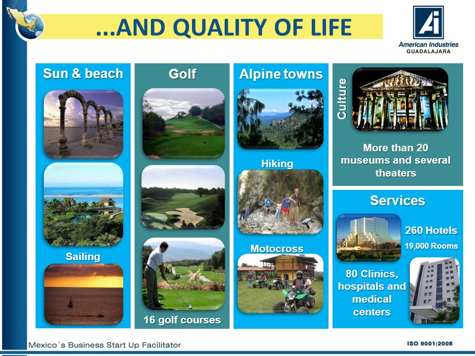 ...AND QUALITY OF LIFE Sun & beach Golf Alpine towns Services Culture