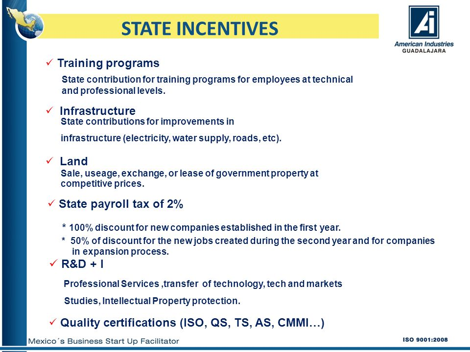 STATE INCENTIVES R&D + I Training programs Infrastructure Land