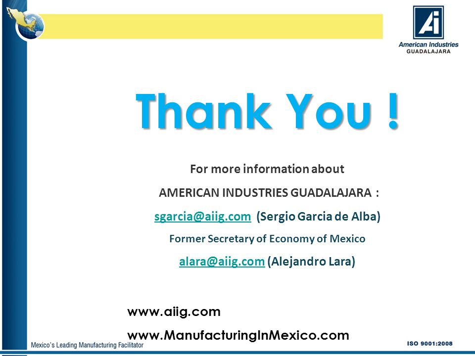 Thank You ! For more information about