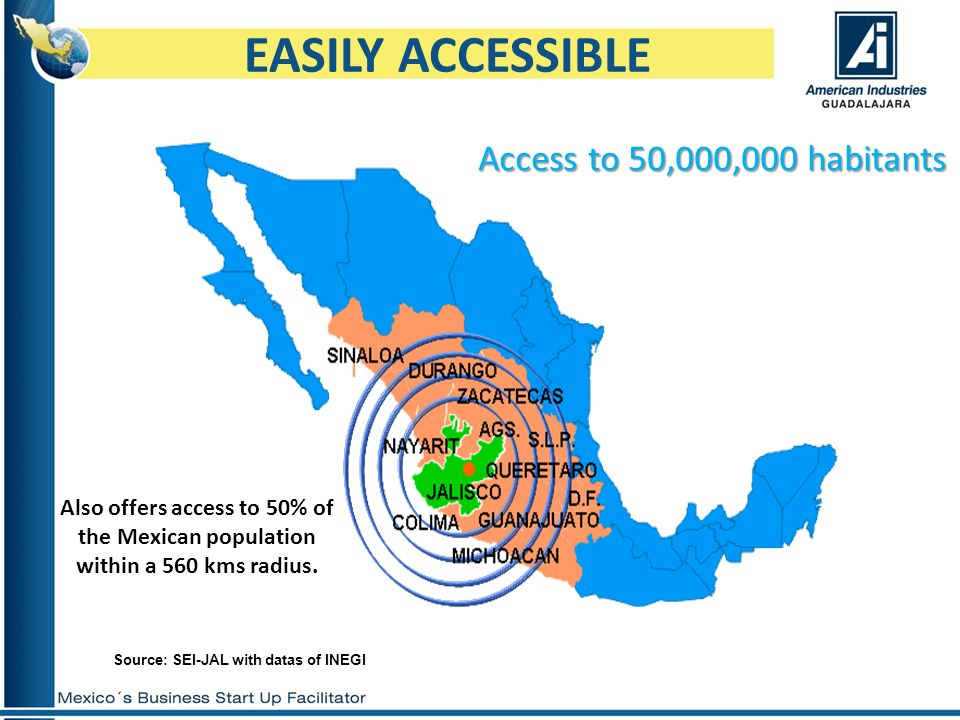 EASILY ACCESSIBLE Access to 50,000,000 habitants