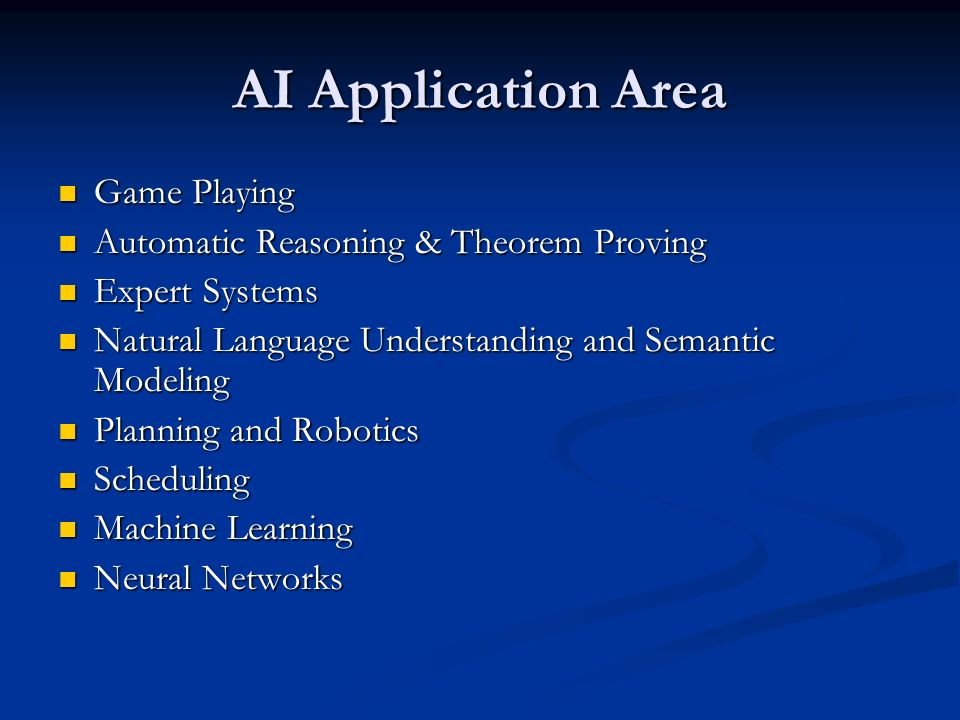 AI Application Area Game Playing Automatic Reasoning & Theorem Proving