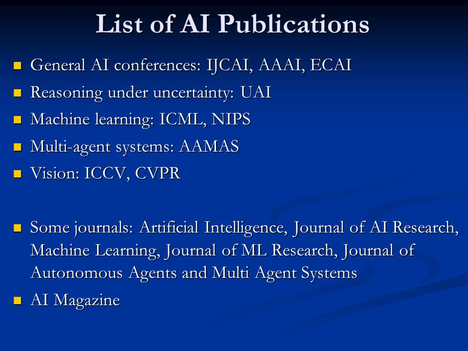 List of AI Publications