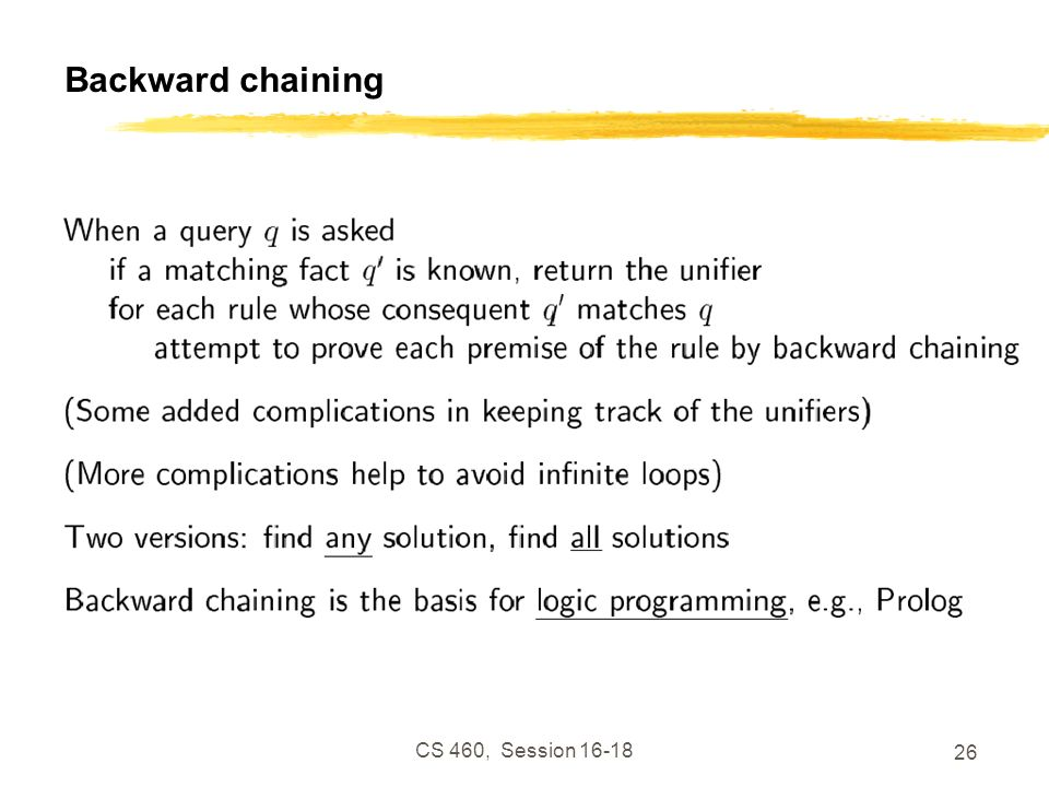 Backward chaining CS 460, Session 16-18