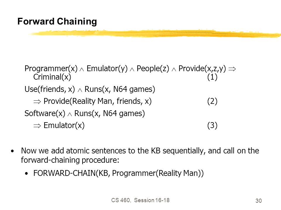 Forward Chaining Programmer(x)  Emulator(y)  People(z)  Provide(x,z,y)  Criminal(x) (1) Use(friends, x)  Runs(x, N64 games)