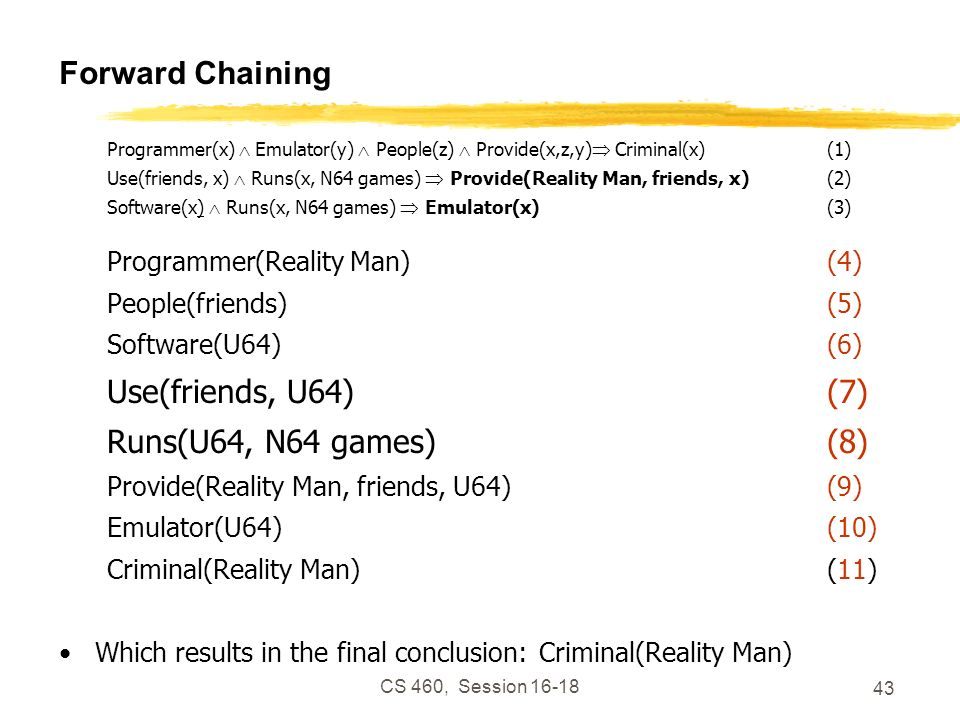 Forward Chaining Use(friends, U64) (7) Runs(U64, N64 games) (8)