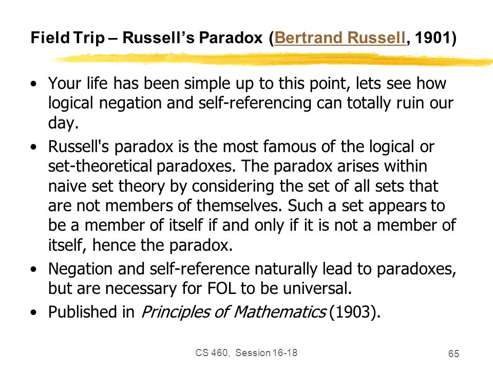 Field Trip – Russell's Paradox (Bertrand Russell, 1901)