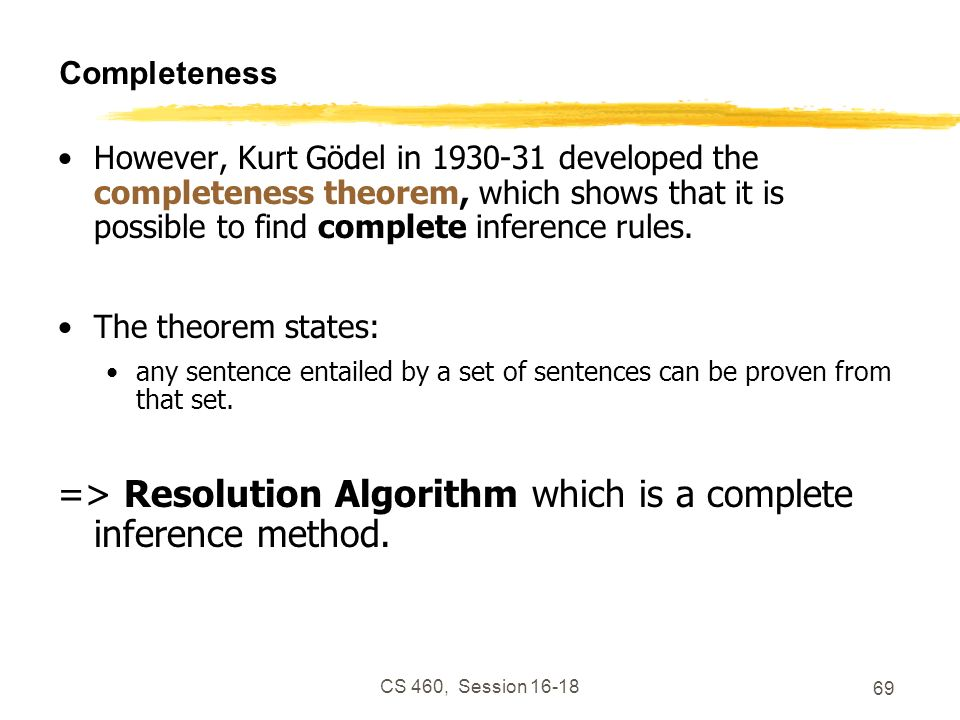 => Resolution Algorithm which is a complete inference method.