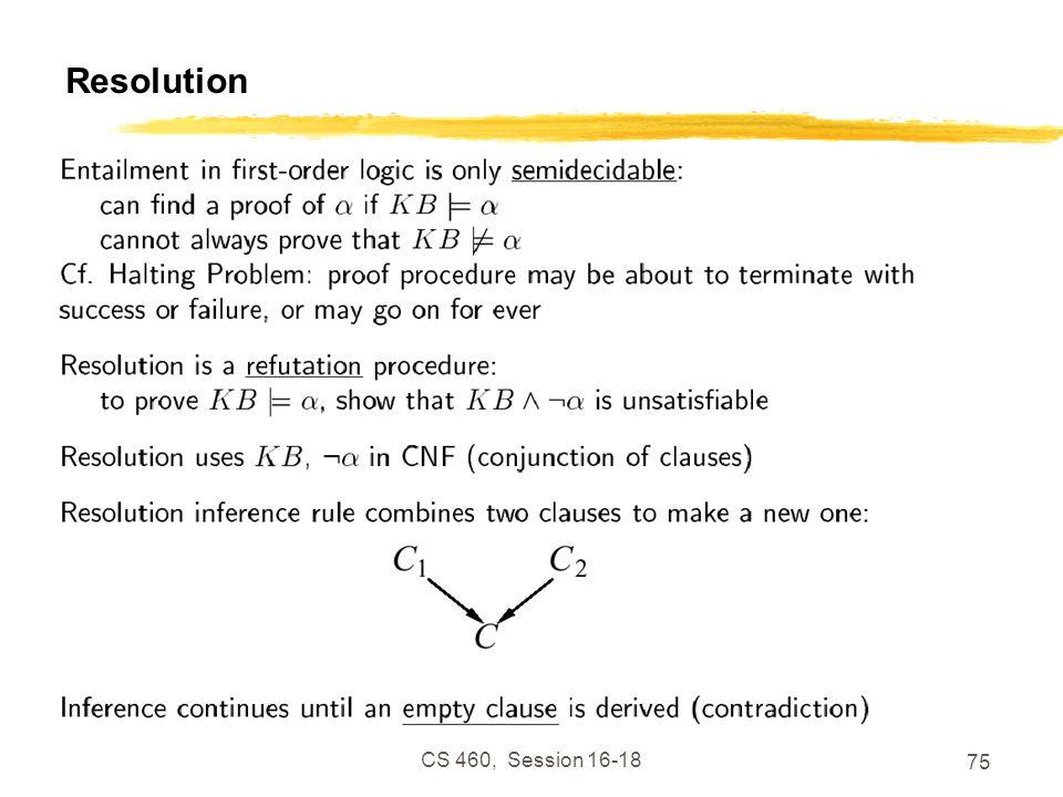 Resolution CS 460, Session 16-18