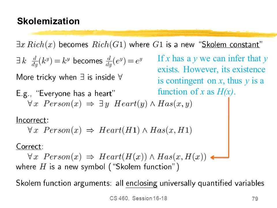 Skolemization If x has a y we can infer that y exists. However, its existence is contingent on x, thus y is a function of x as H(x).
