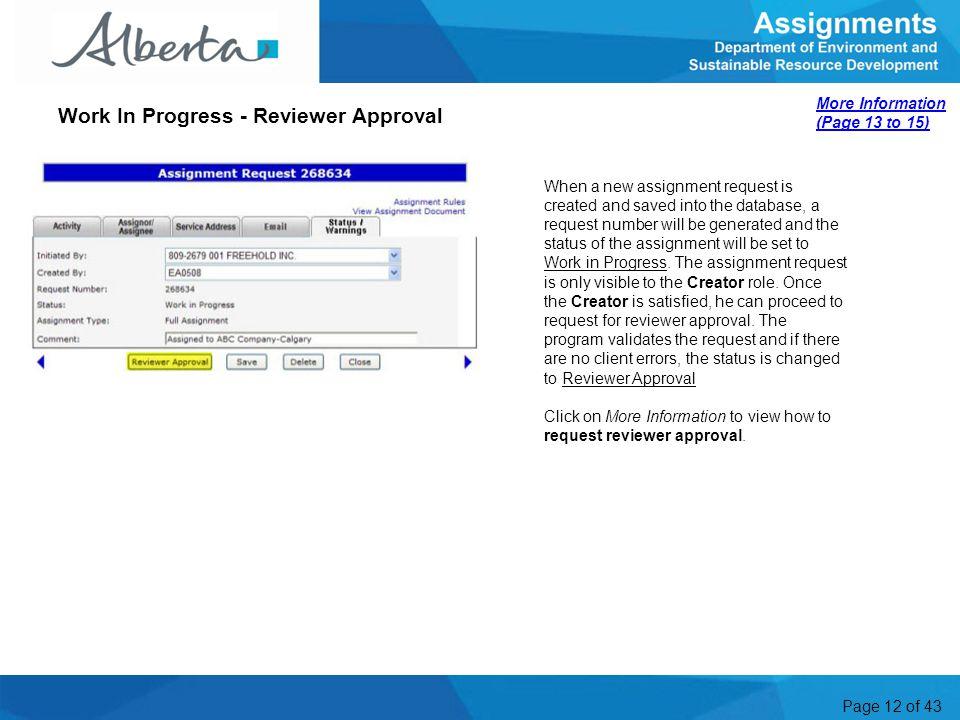 Work In Progress - Reviewer Approval