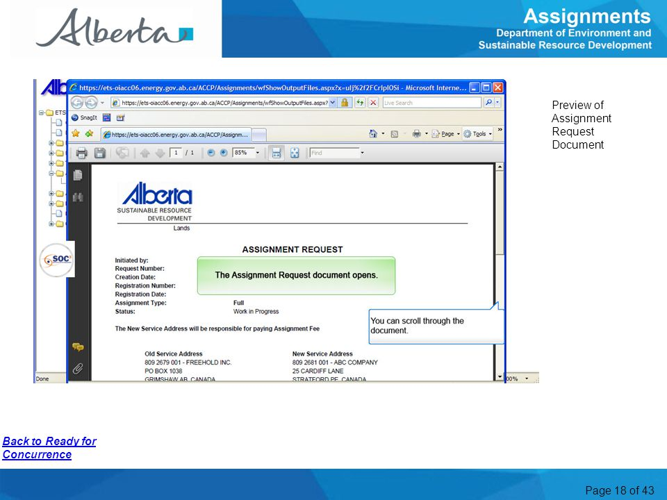 Preview of Assignment Request Document