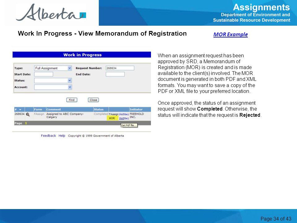 Work In Progress - View Memorandum of Registration