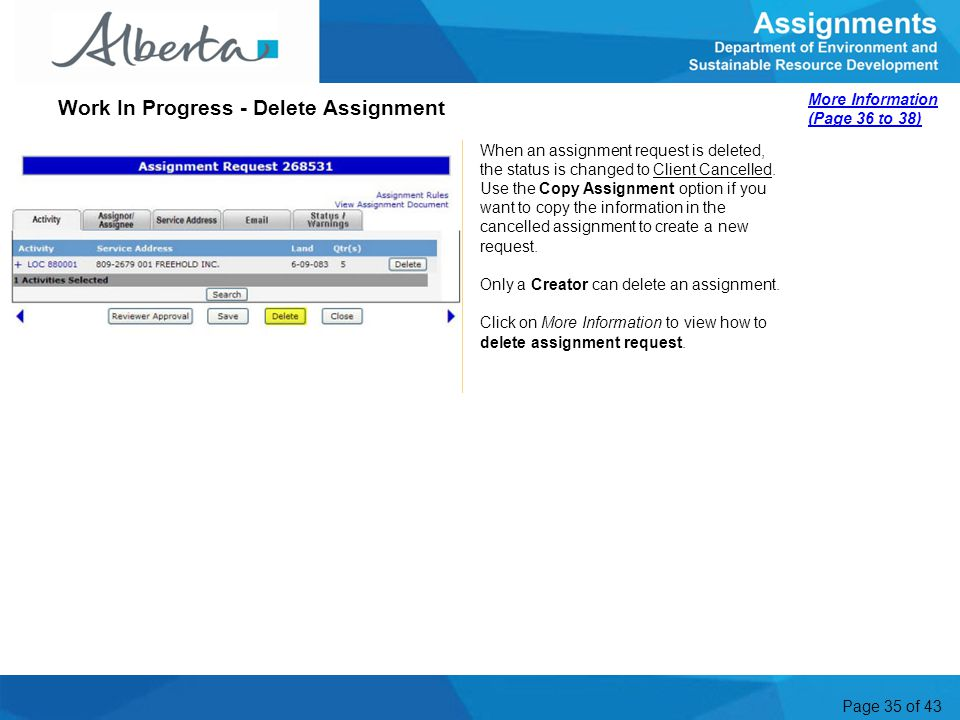 Work In Progress - Delete Assignment