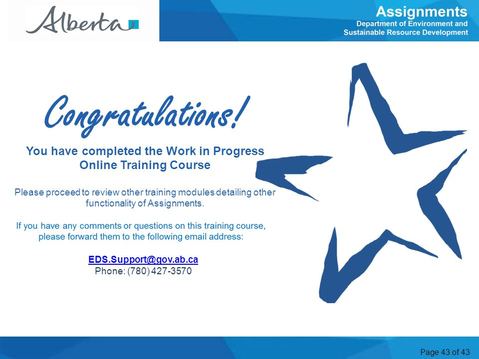 You have completed the Work in Progress Online Training Course