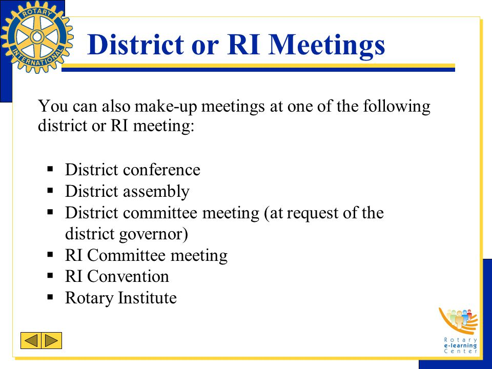 District or RI Meetings