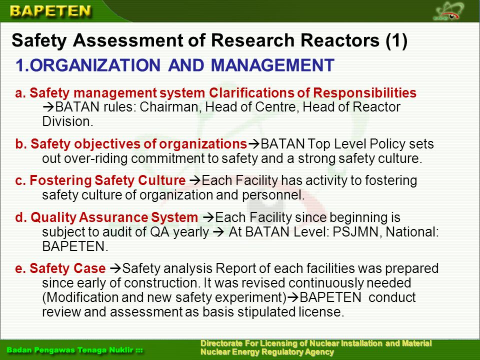 Safety Assessment of Research Reactors (1)