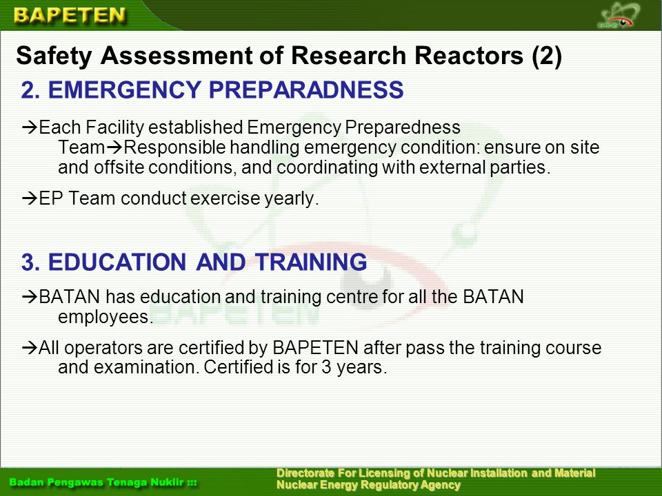 Safety Assessment of Research Reactors (2)