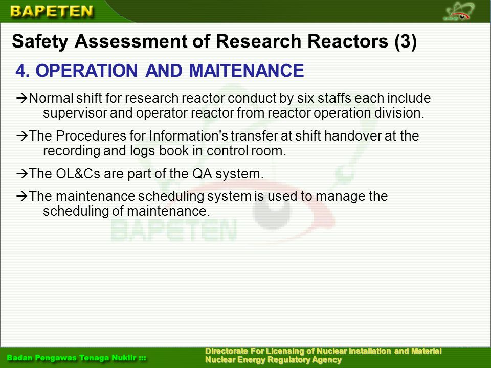 Safety Assessment of Research Reactors (3)
