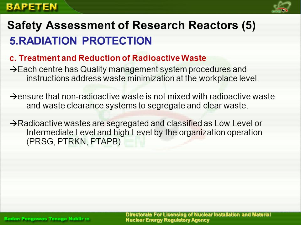 Safety Assessment of Research Reactors (5)