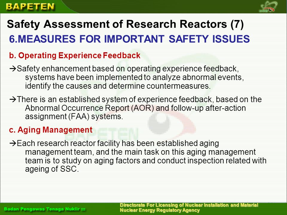 Safety Assessment of Research Reactors (7)