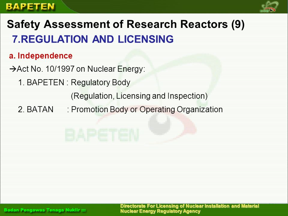 Safety Assessment of Research Reactors (9)