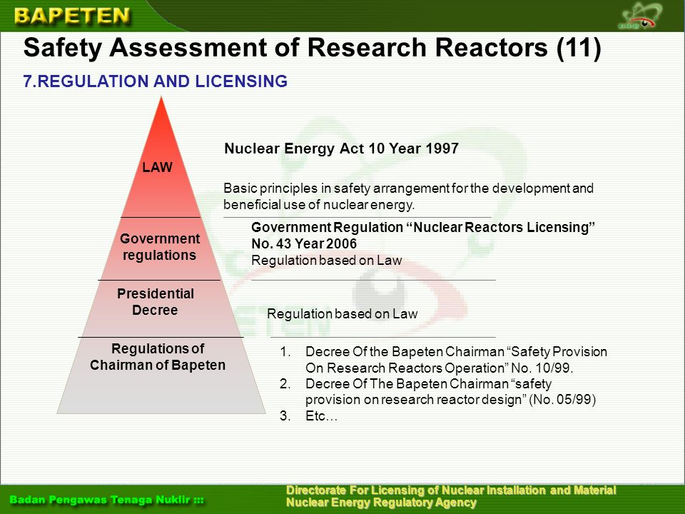 Safety Assessment of Research Reactors (11)