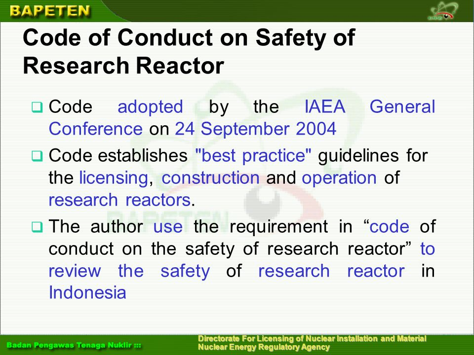 Code of Conduct on Safety of Research Reactor