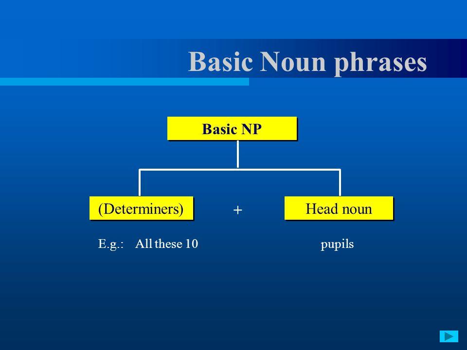Basic Noun phrases Basic NP (Determiners) Head noun +
