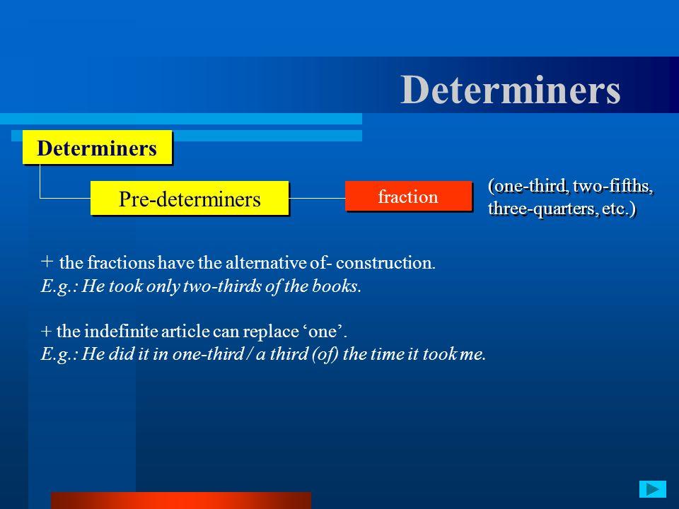 Determiners Determiners Pre-determiners