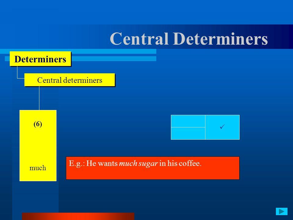 Central Determiners Determiners Central determiners