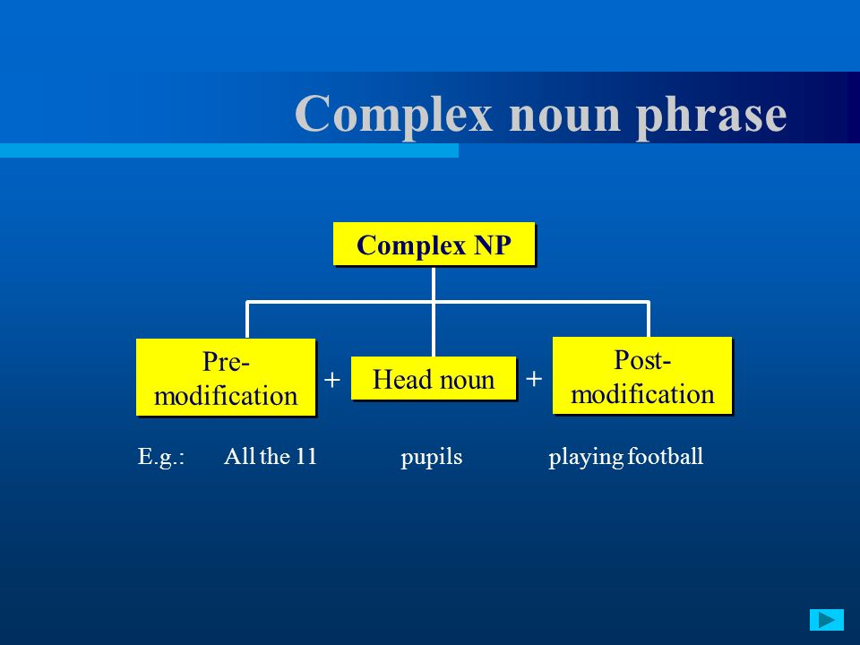 Complex noun phrase Complex NP Pre-modification Post-modification +
