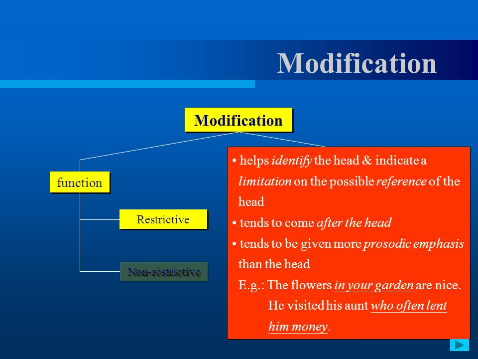 Modification Modification helps identify the head & indicate a
