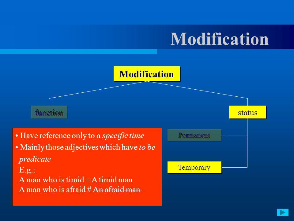 Modification Modification function status