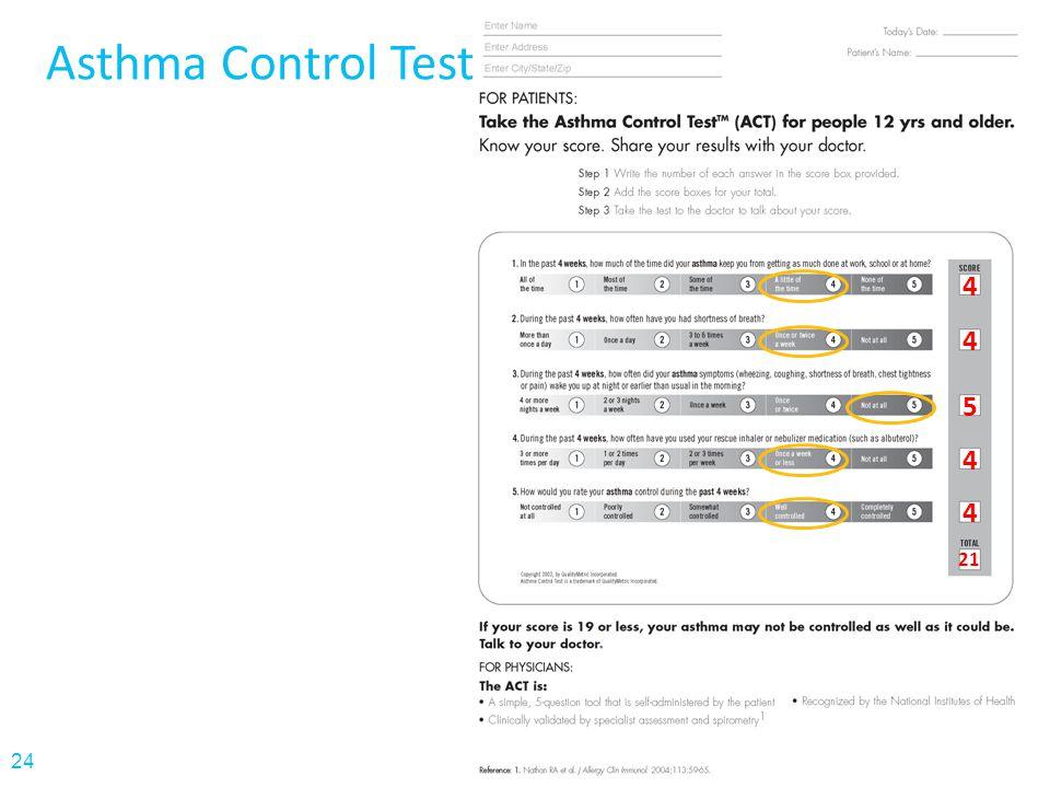 Asthma Control Test 4 4 5 4 4 21