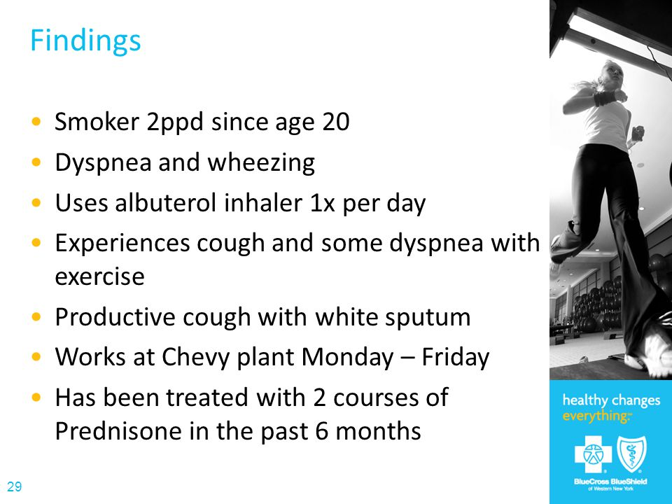 Findings Smoker 2ppd since age 20 Dyspnea and wheezing