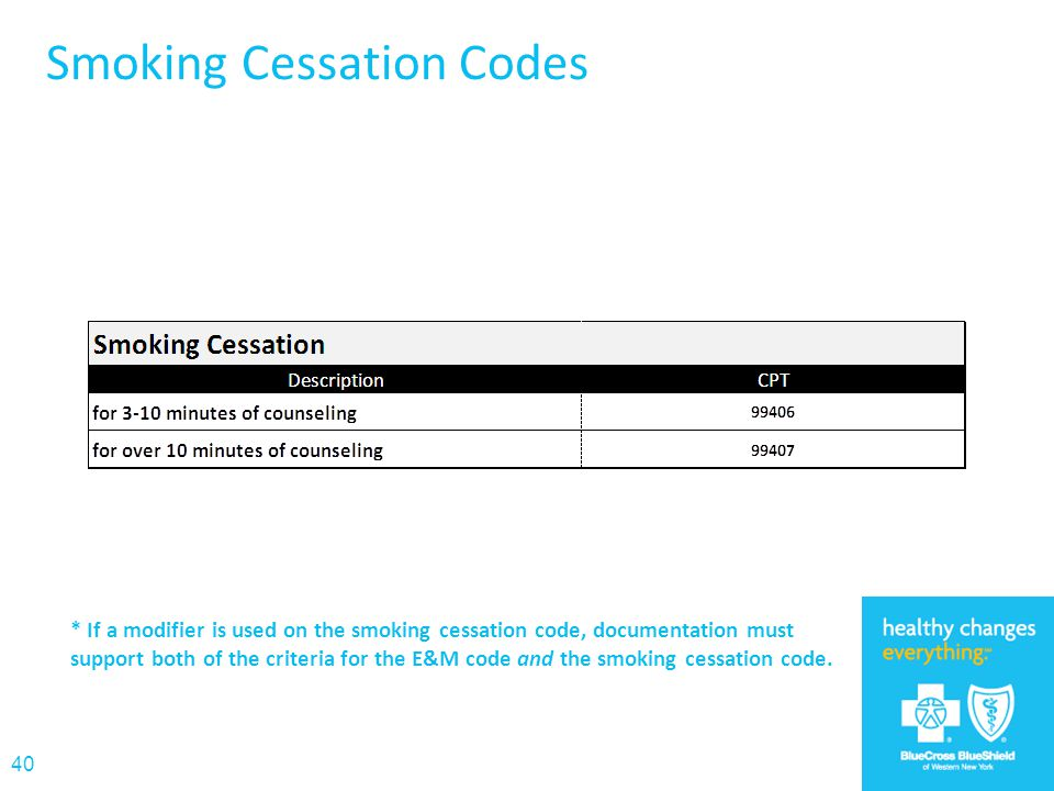 Smoking Cessation Codes