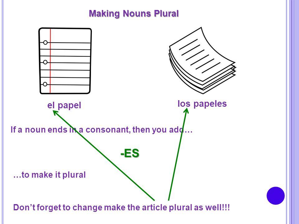 -ES Making Nouns Plural los papeles el papel