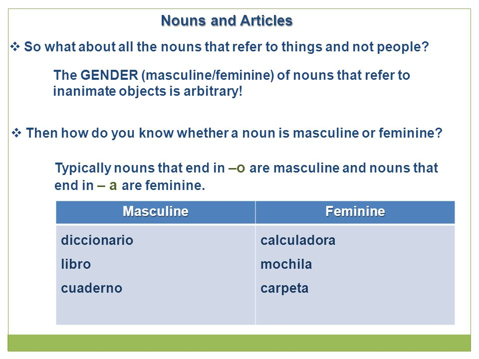 Nouns and Articles So what about all the nouns that refer to things and not people The GENDER (masculine/feminine) of nouns that refer to.