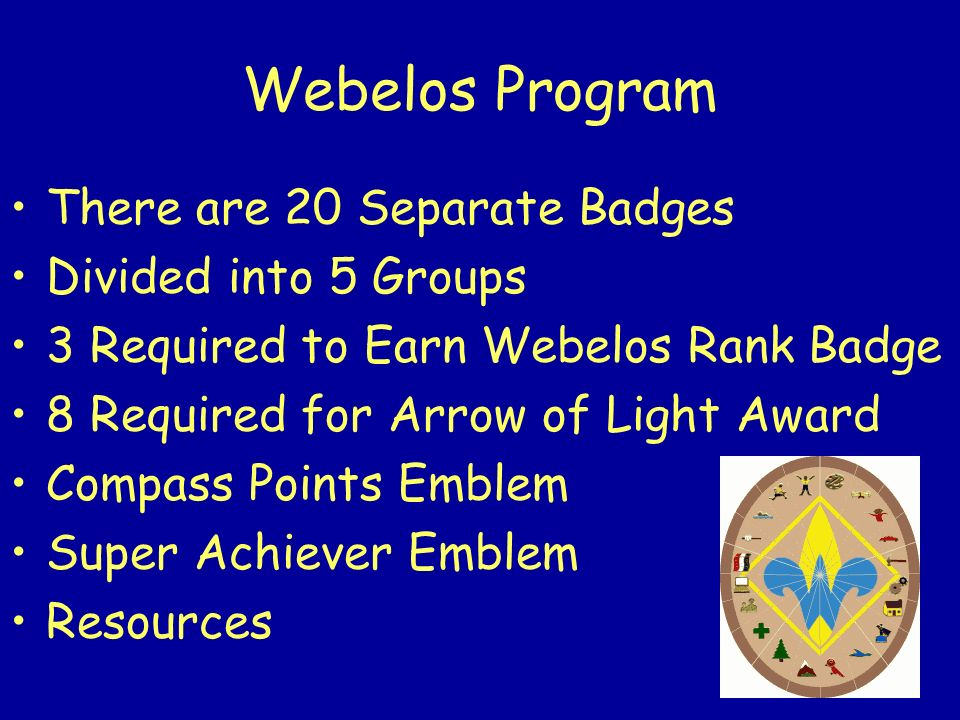 Webelos Program There are 20 Separate Badges Divided into 5 Groups
