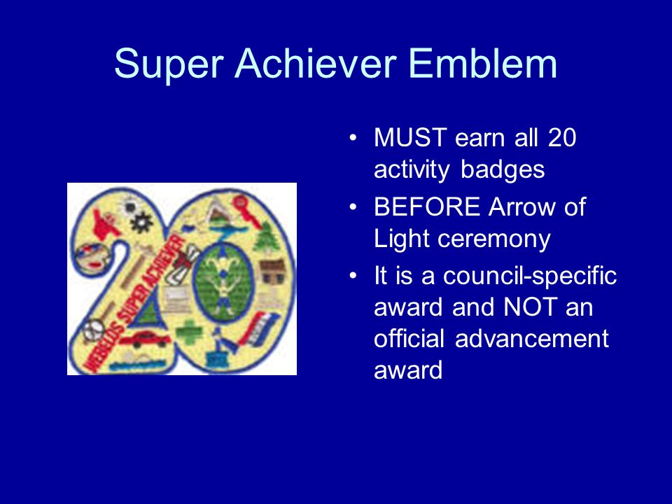 Super Achiever Emblem MUST earn all 20 activity badges